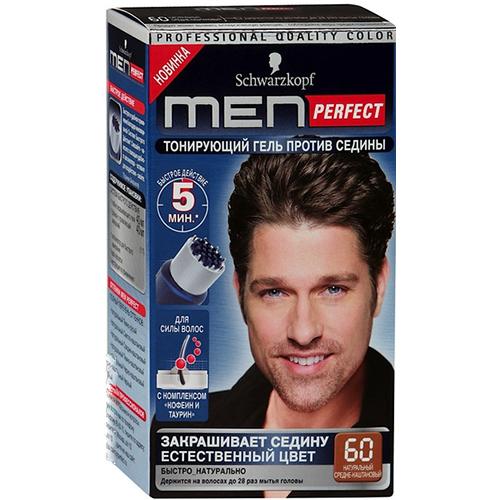 Schwarzkopf MEN PERFECT 60 Тонирующий гель для мужчин Средне-каштановый 60 80мл