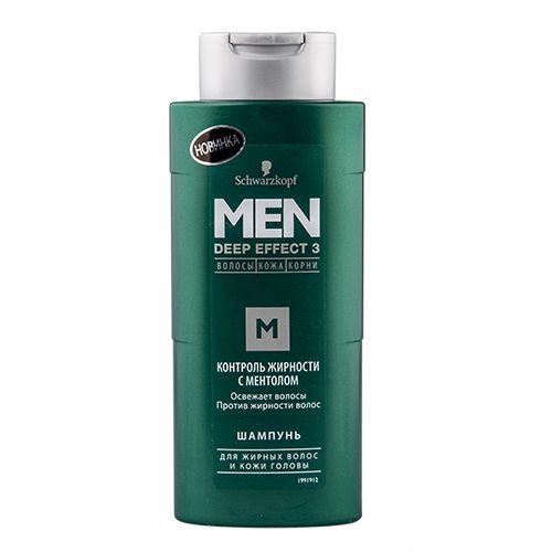 Men Deep Effect 3 Шампунь Контроль жирности с ментолом 250 мл